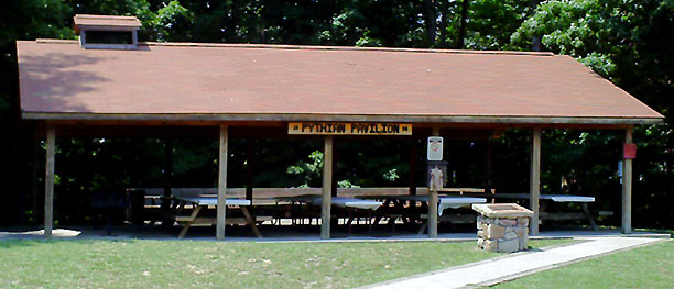 Pythian pavilion across the parking lot from the swimming pool